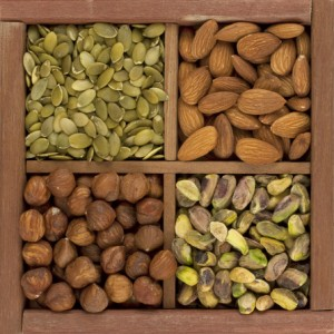 almonds, hazelnuts, pistachio nuts and pumpkin seed